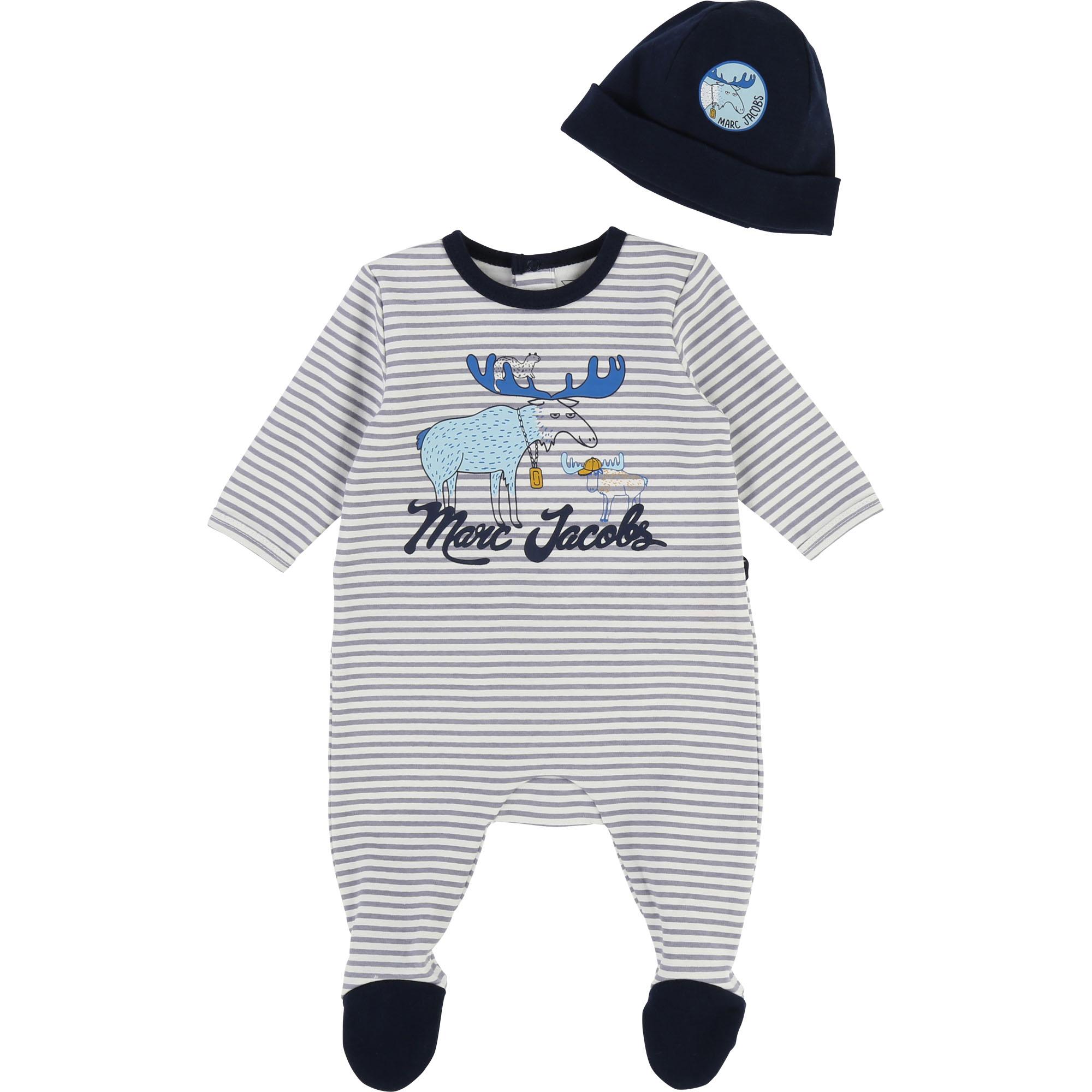 Ensemble pyjama et bonnet THE MARC JACOBS BEBE COUCHE UNISEXE Gris