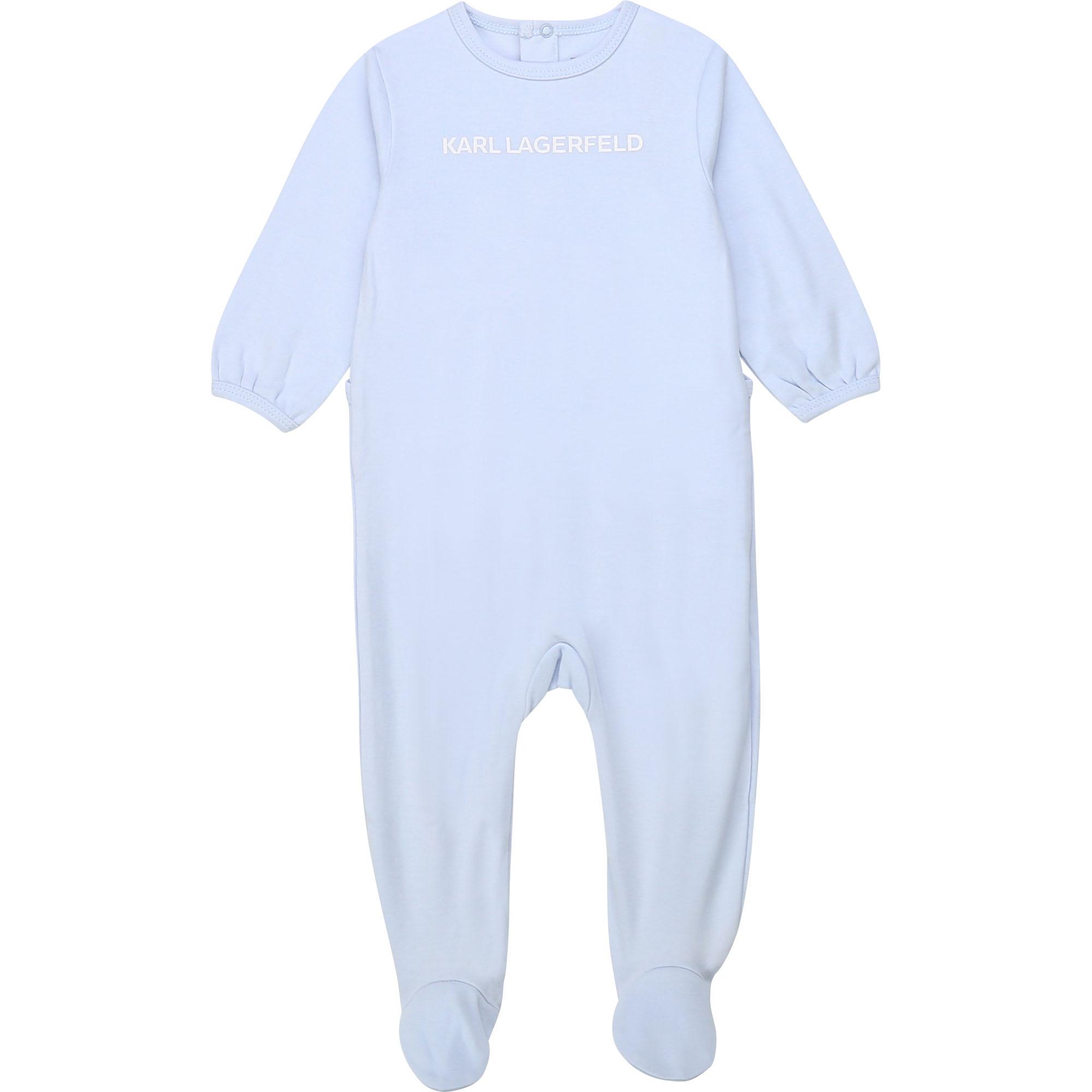 Grenouillère en coton à logo KARL LAGERFELD KIDS BEBE COUCHE UNISEXE Bleu