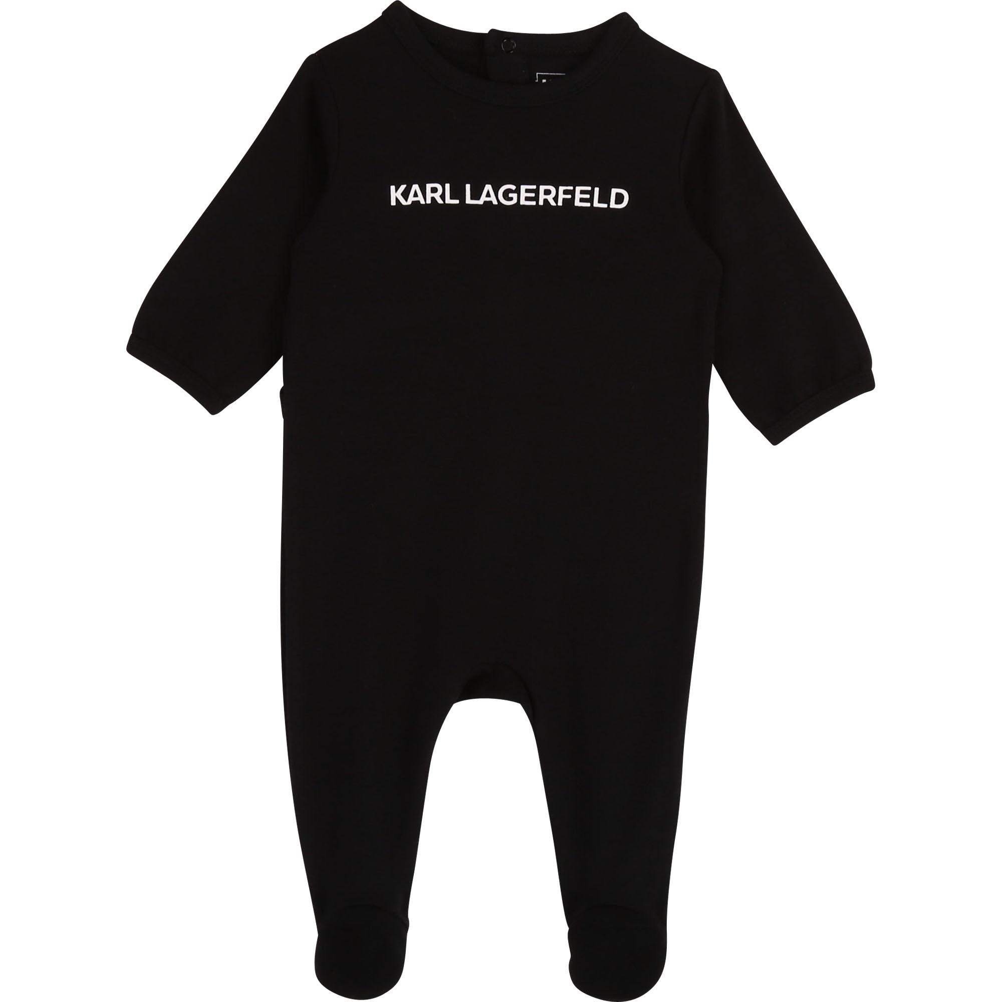 Grenouillère en coton à logo KARL LAGERFELD KIDS BEBE COUCHE UNISEXE Noir