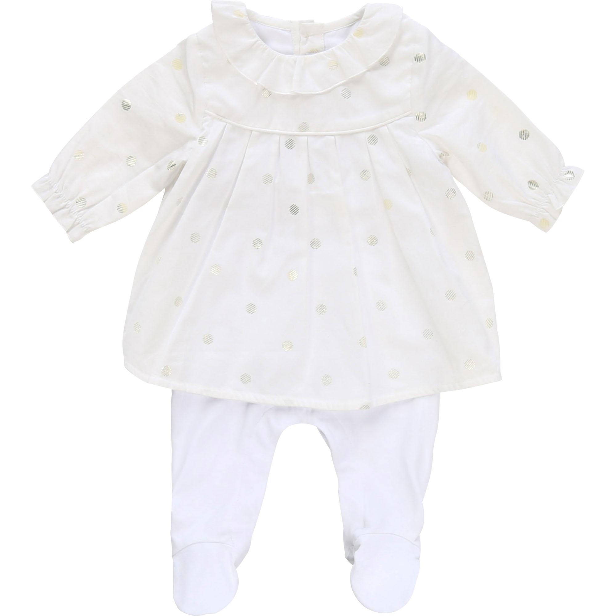 Pyjama 2 en 1 bimatière BOSS BEBE COUCHE FILLE Blanc