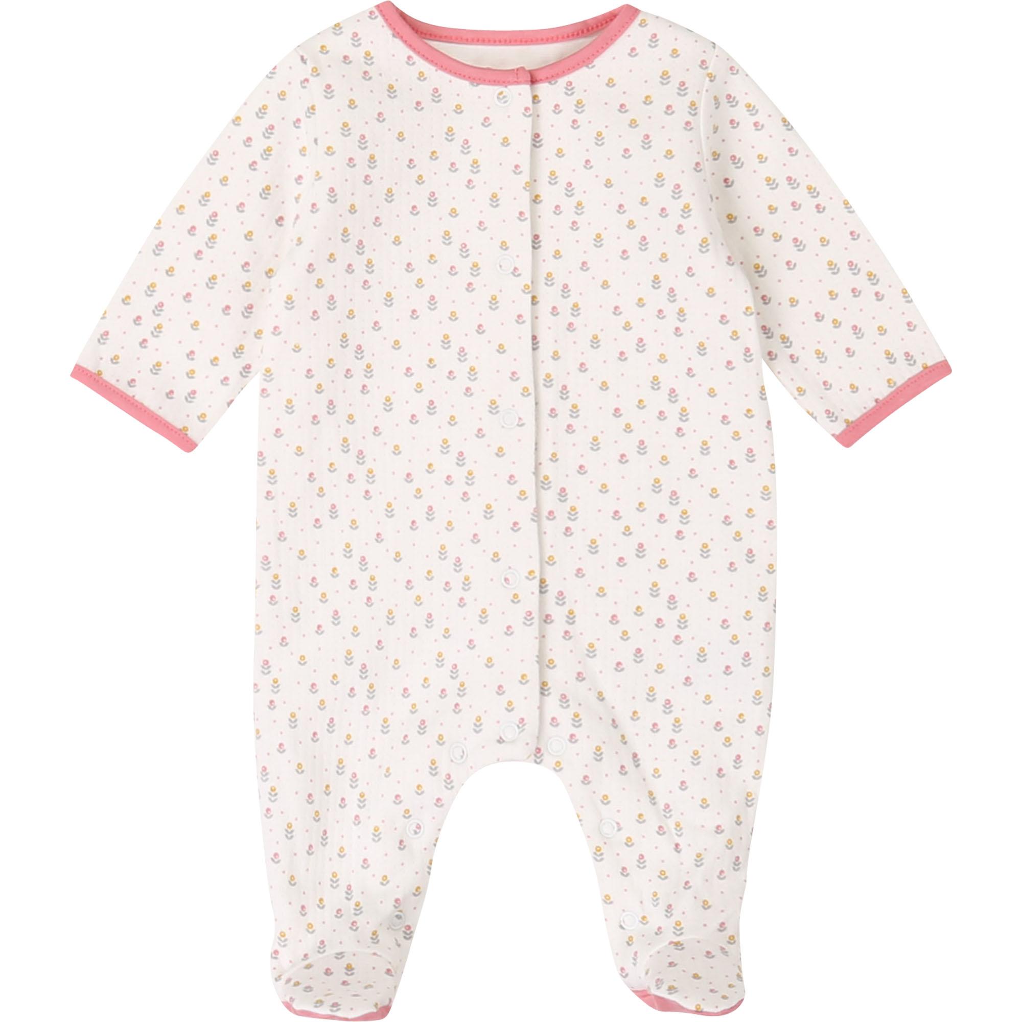 Pyjama coton bio majoritaire CARREMENT BEAU BEBE COUCHE FILLE Blanc