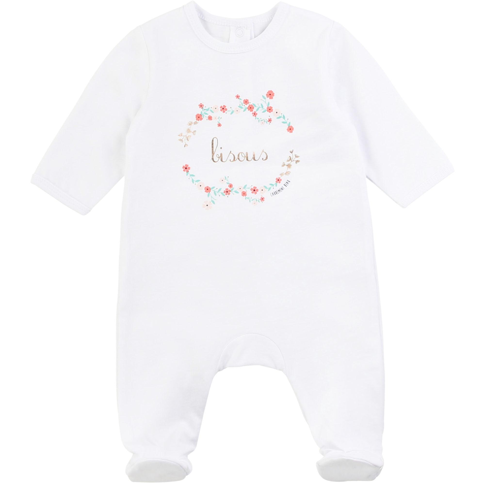 Pyjama en coton avec imprimé CARREMENT BEAU BEBE COUCHE FILLE Blanc