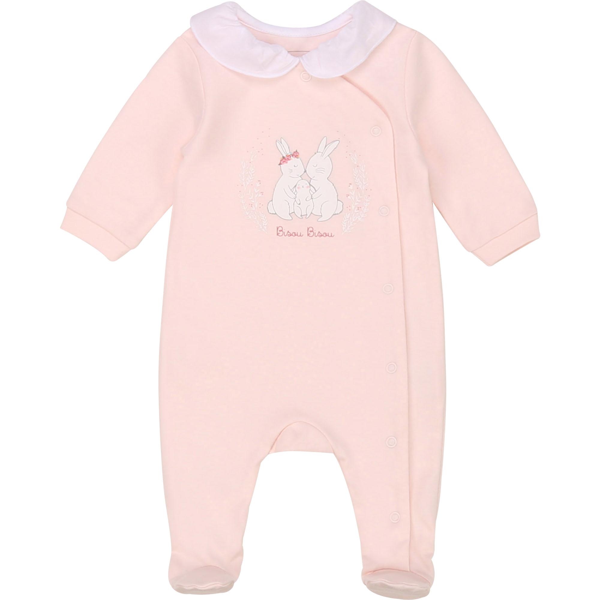 Pyjama en coton biologique CARREMENT BEAU BEBE COUCHE FILLE Rose