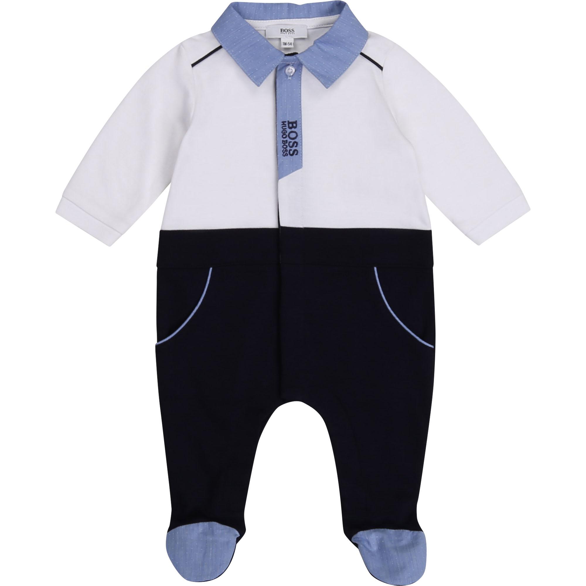 Pyjama en coton et modal BOSS BEBE COUCHE GARCON Blanc
