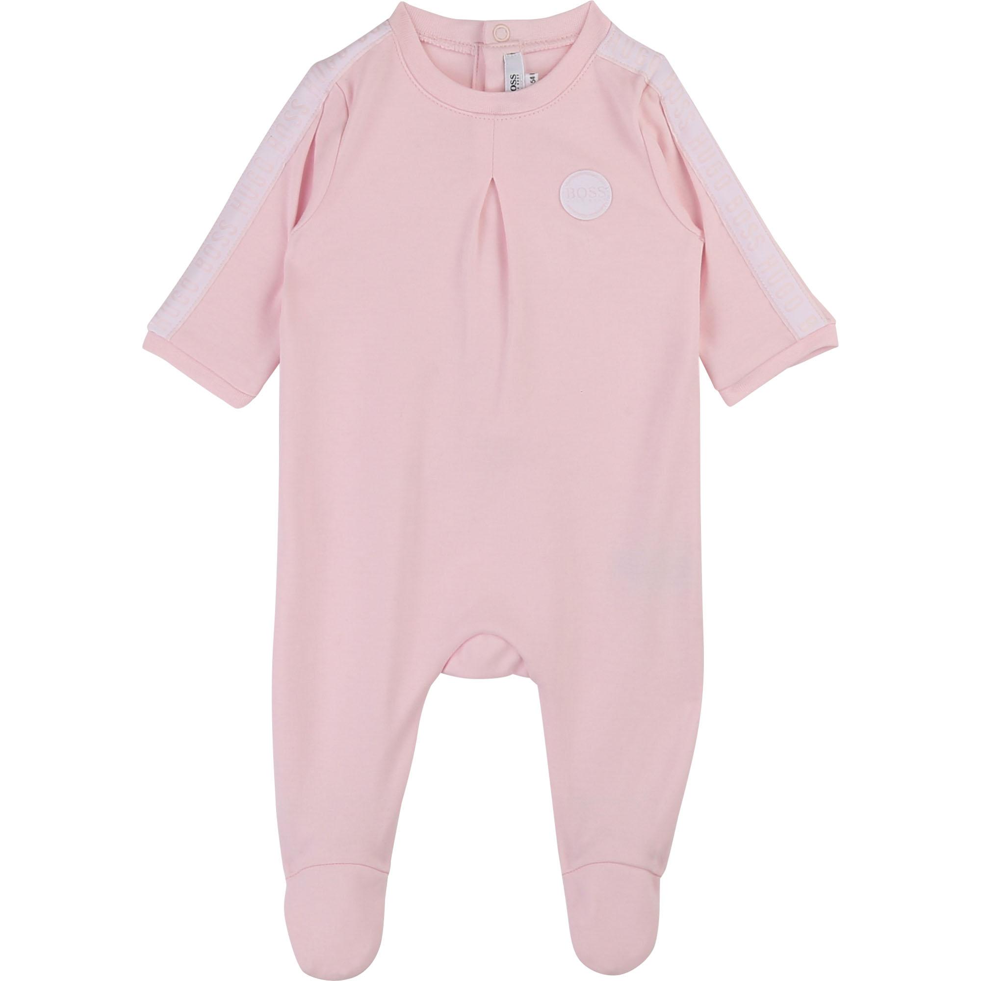 Pyjama en coton interlock BOSS BEBE COUCHE FILLE Rose