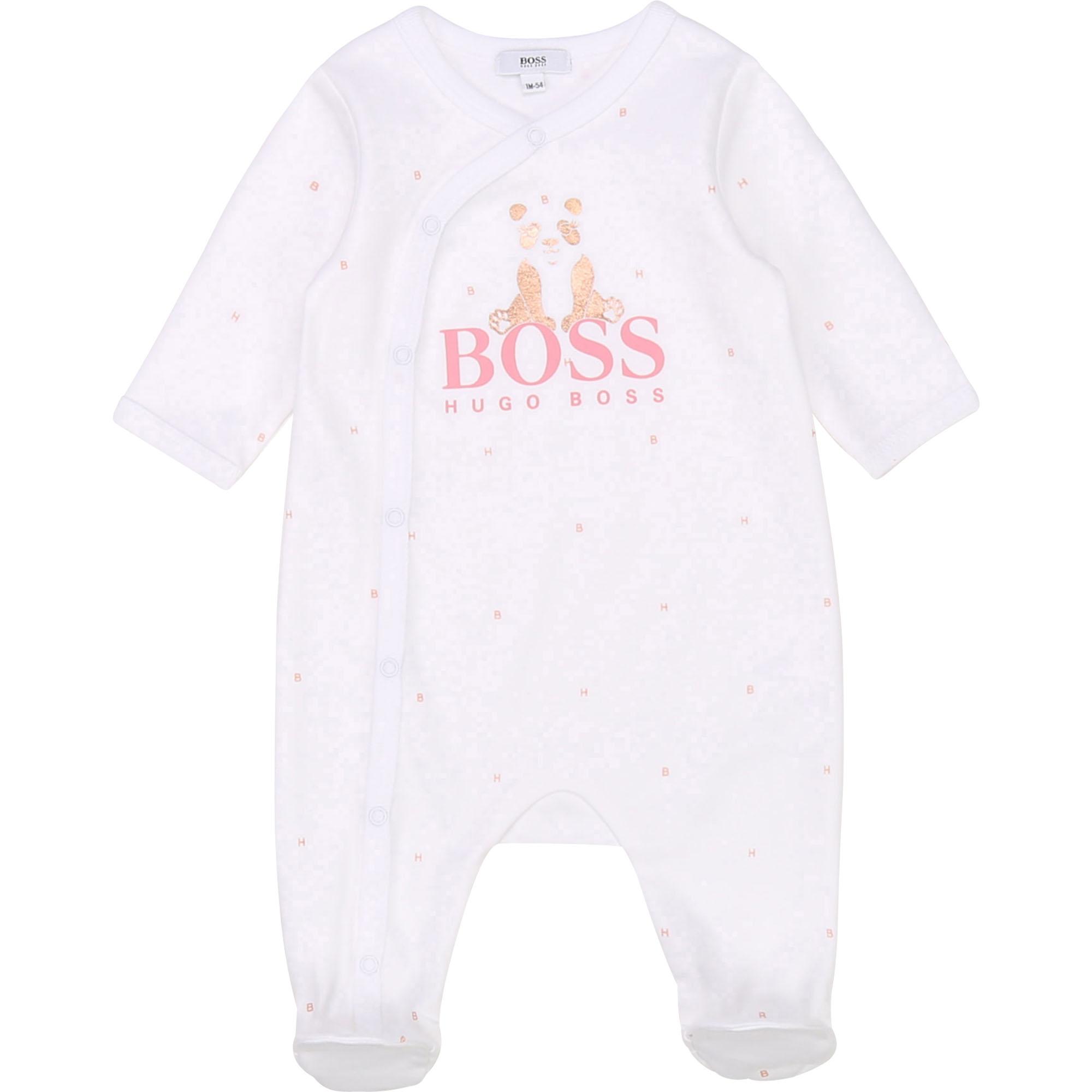 Pyjama en interlock coton BOSS BEBE COUCHE FILLE Blanc