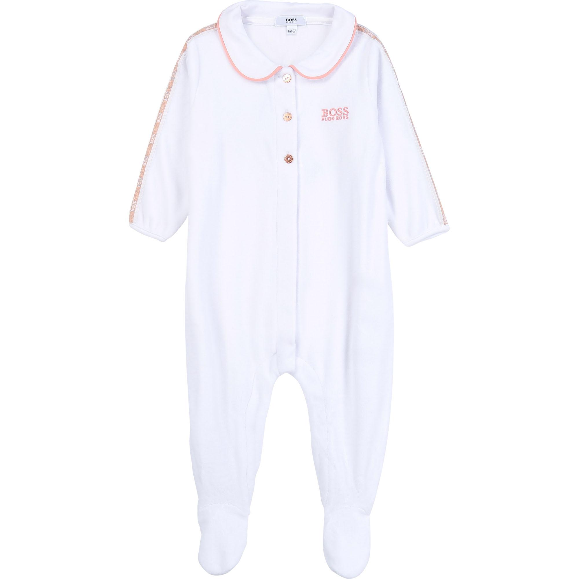Pyjama en velours BOSS BEBE COUCHE FILLE Blanc