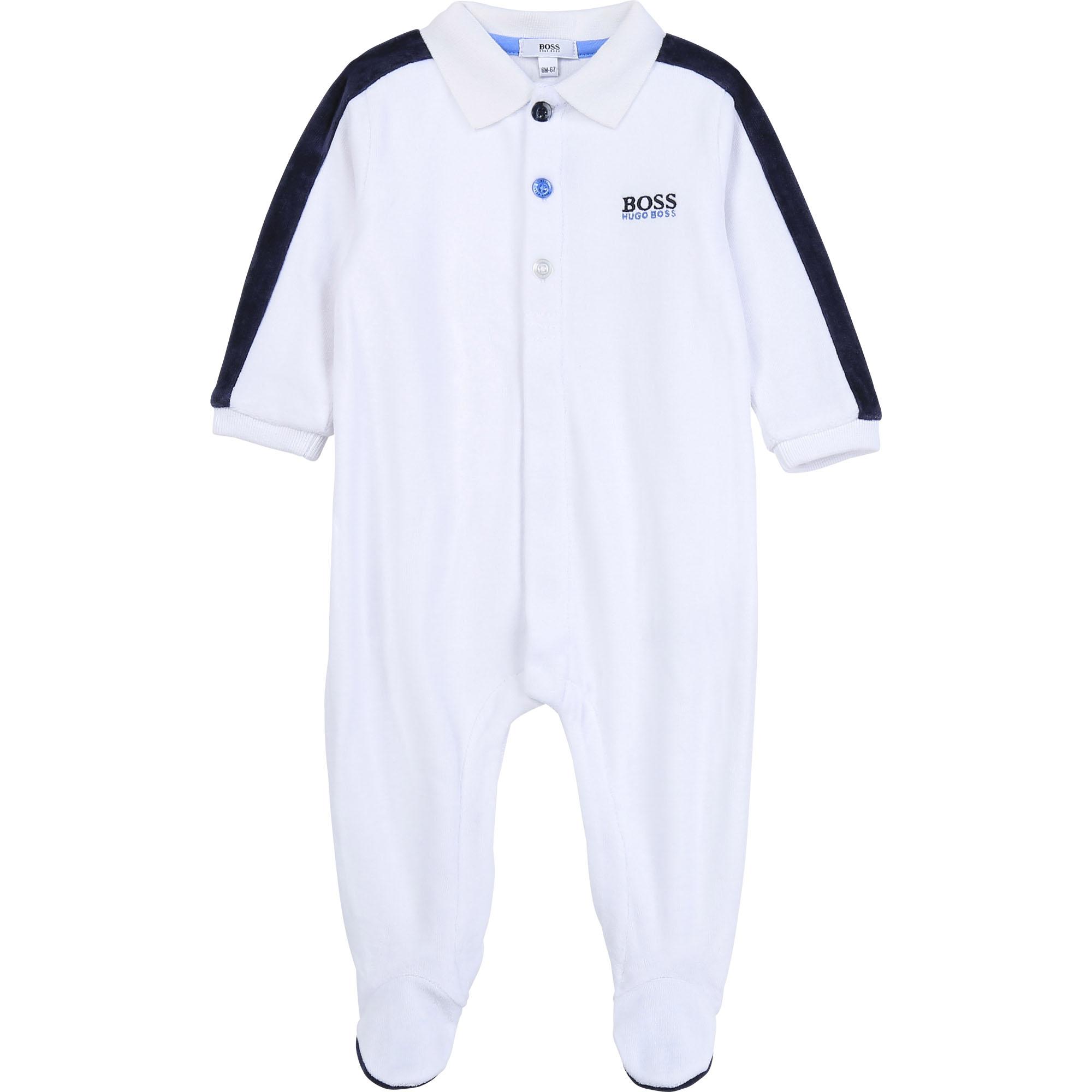 Pyjama en velours BOSS BEBE COUCHE GARCON Blanc