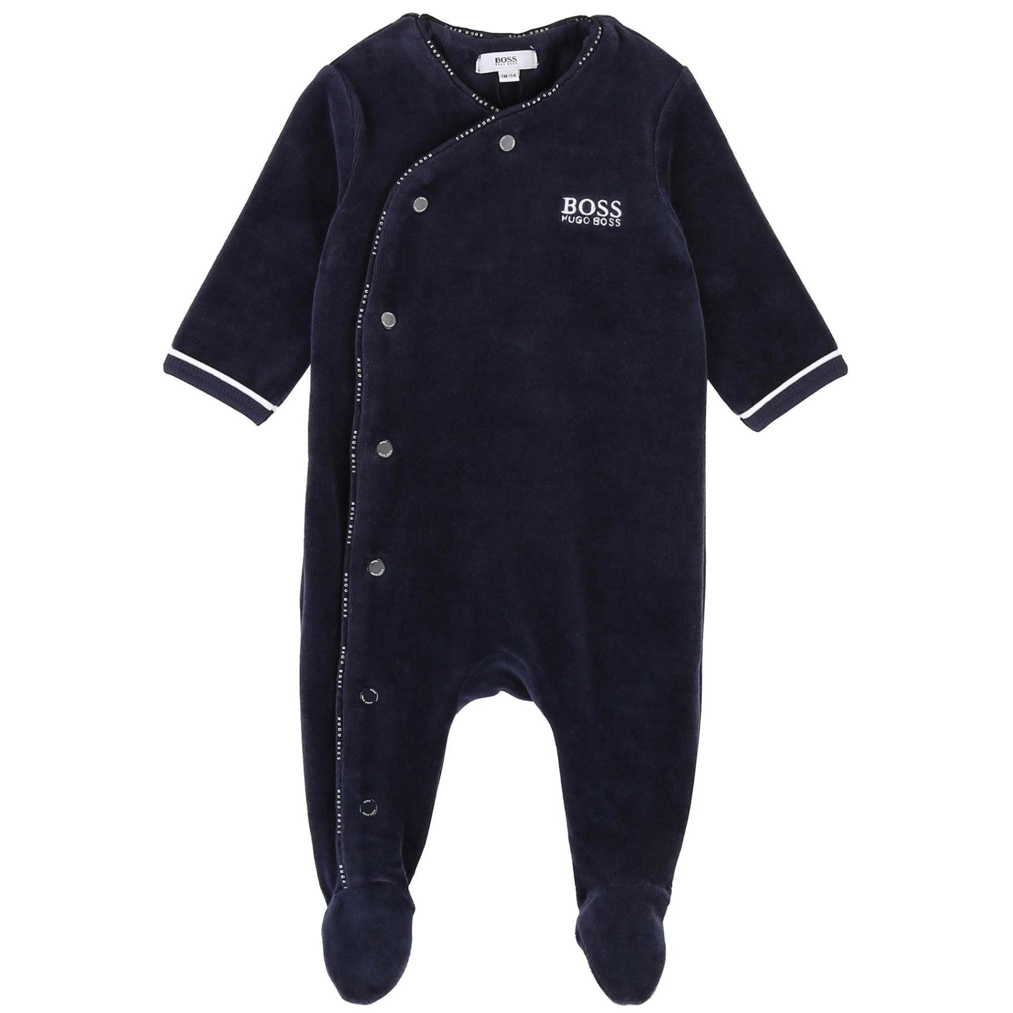 Pyjama en velours avec logo BOSS BEBE COUCHE GARCON Bleu