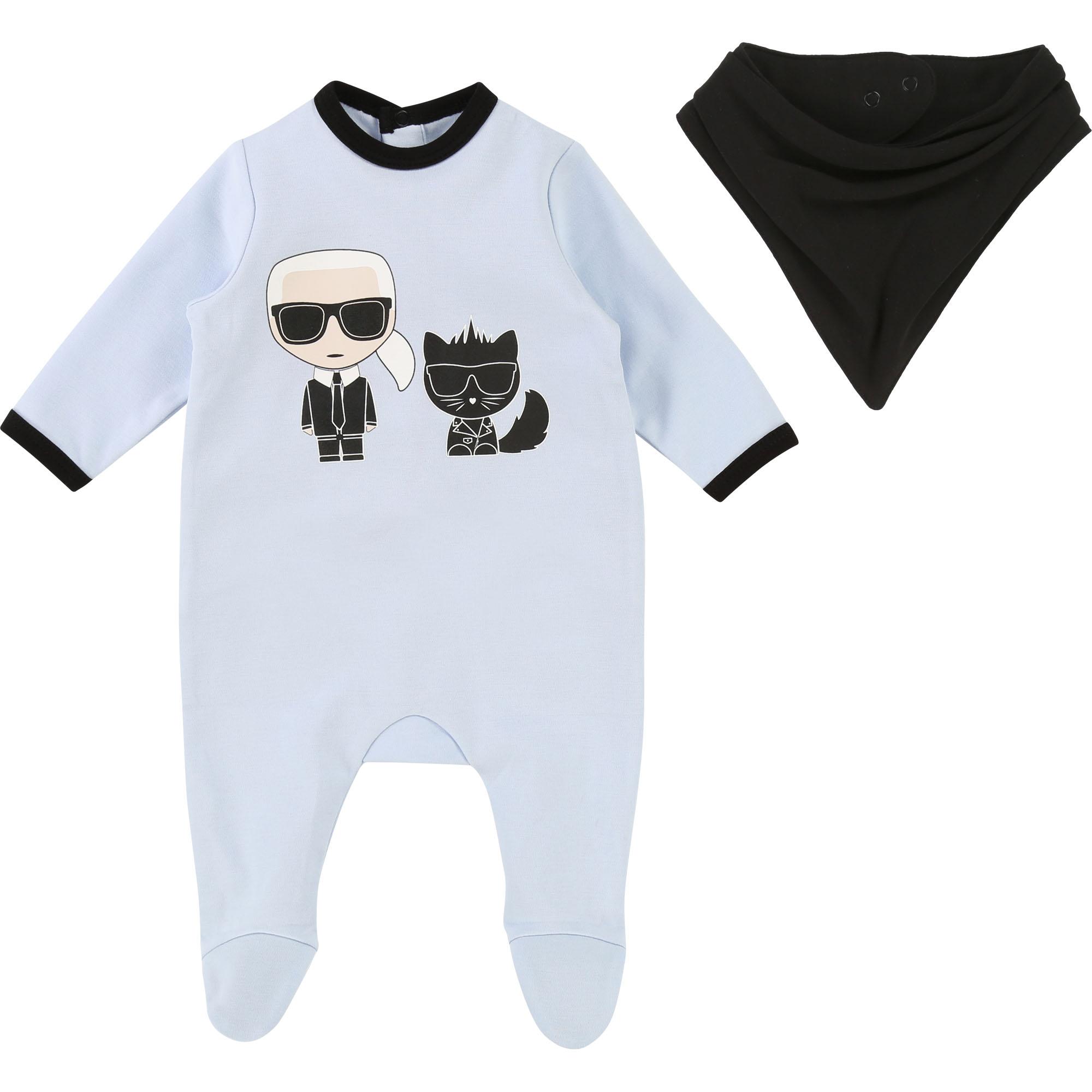 Pyjama et bandana KARL LAGERFELD KIDS BEBE COUCHE UNISEXE Bleu