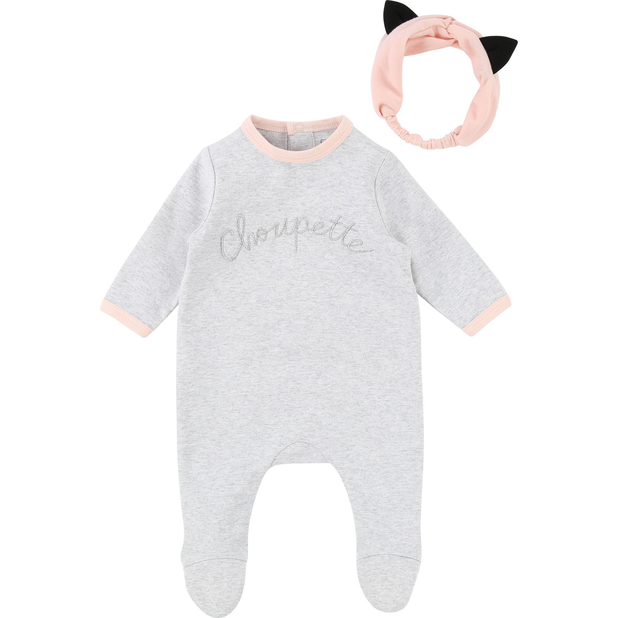 Pyjama et bandeau Choupette KARL LAGERFELD KIDS BEBE COUCHE UNISEXE Gris