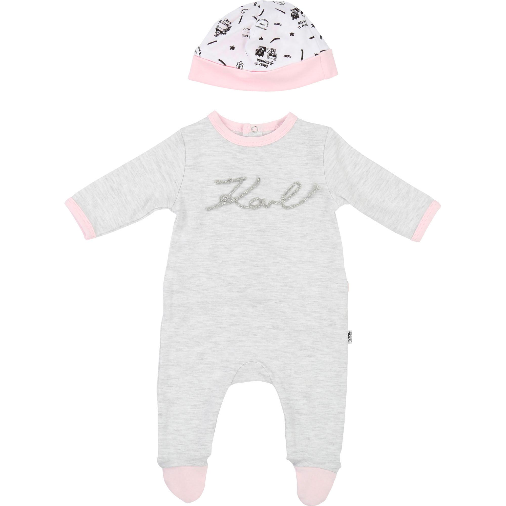 Pyjama et bonnet en interlock KARL LAGERFELD KIDS BEBE COUCHE UNISEXE Gris