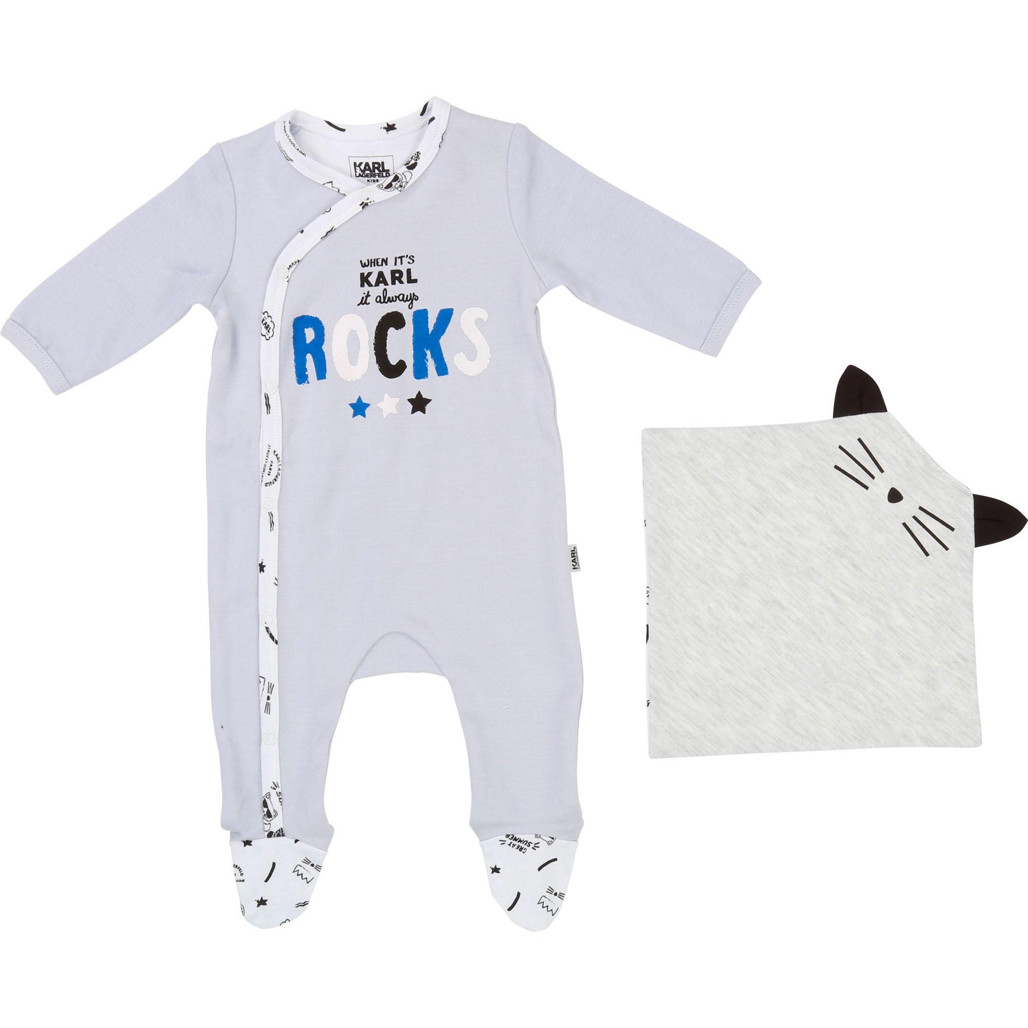Pyjama et doudou en interlock KARL LAGERFELD KIDS BEBE COUCHE UNISEXE Bleu