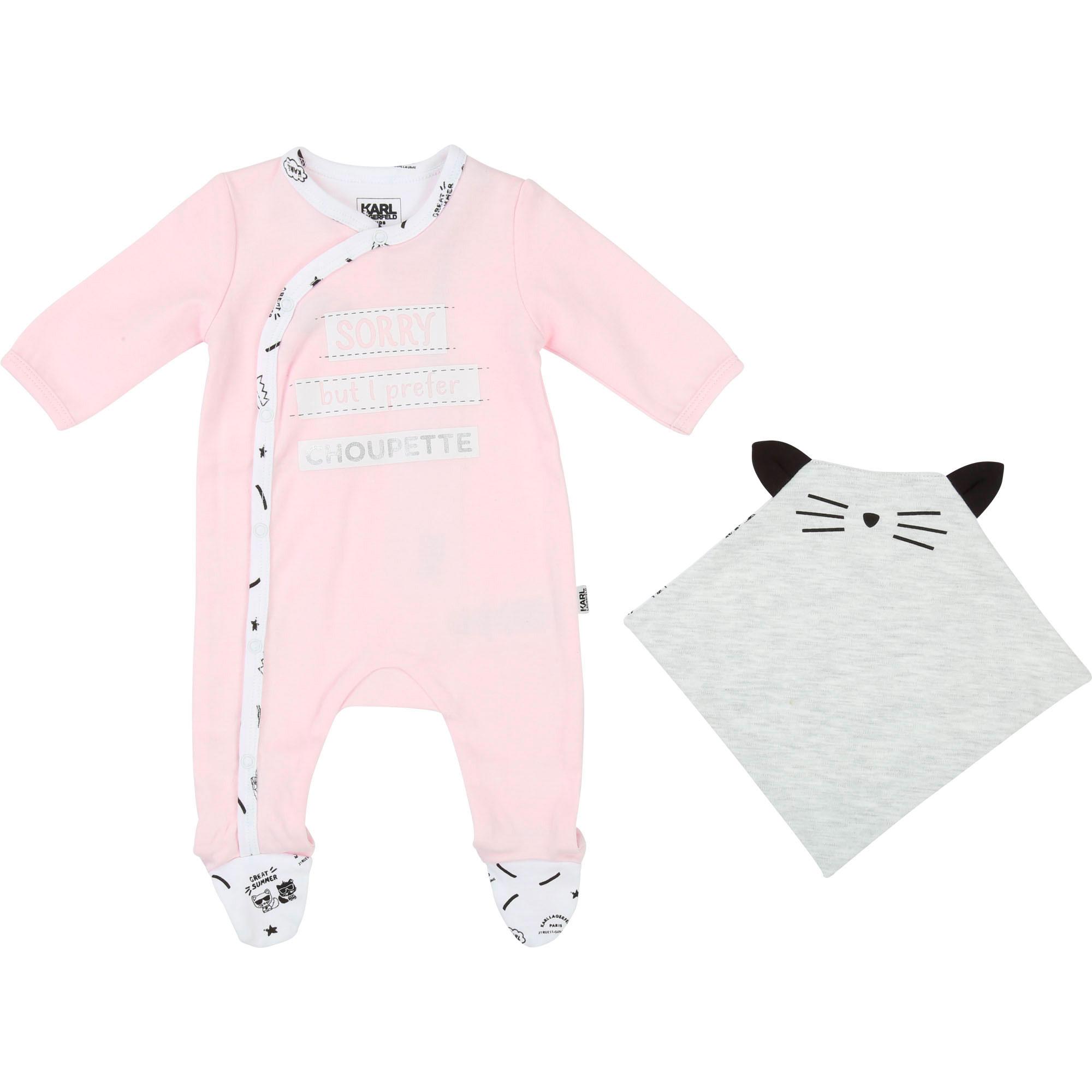 Pyjama et doudou en interlock KARL LAGERFELD KIDS BEBE COUCHE UNISEXE Rose
