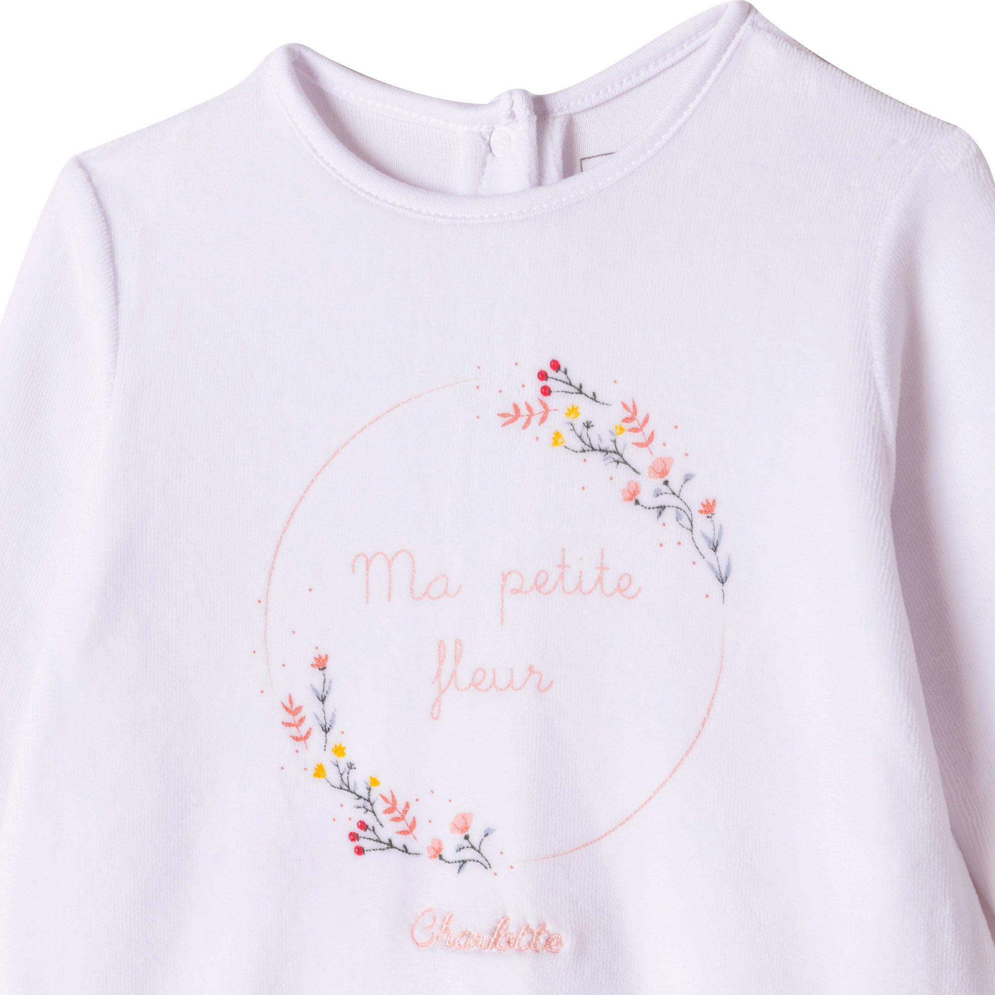 Pyjama imprimé en velours CARREMENT BEAU BEBE COUCHE FILLE Blanc