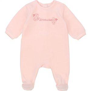 Pyjama imprimé en velours CARREMENT BEAU BEBE COUCHE FILLE Rose