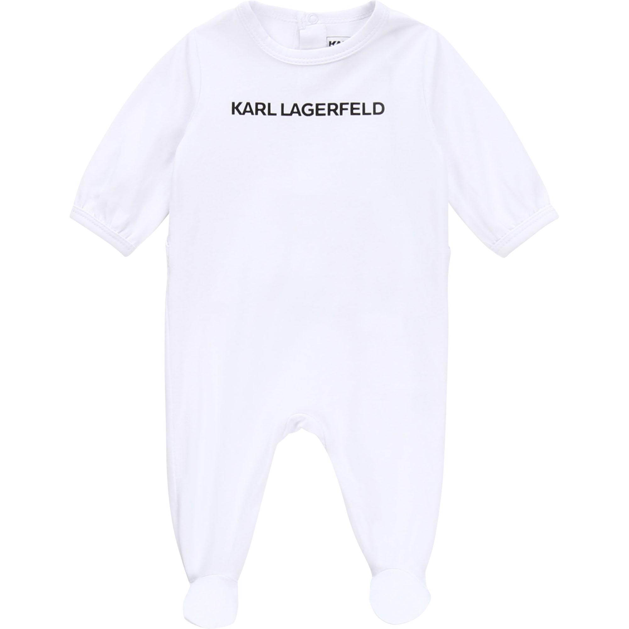 Pyjama intégral avec logo KARL LAGERFELD KIDS BEBE COUCHE UNISEXE Blanc
