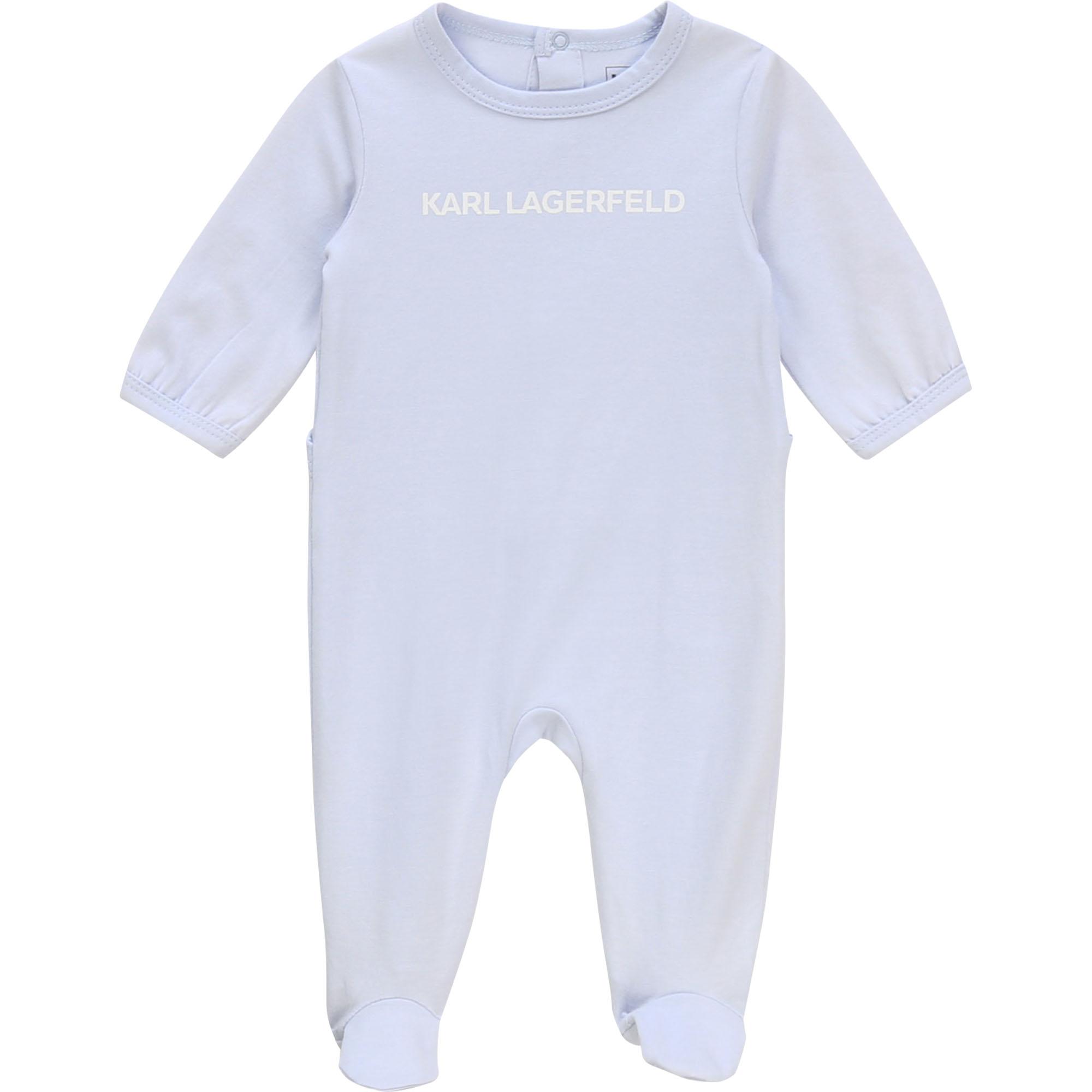Pyjama intégral avec logo KARL LAGERFELD KIDS BEBE COUCHE UNISEXE Bleu