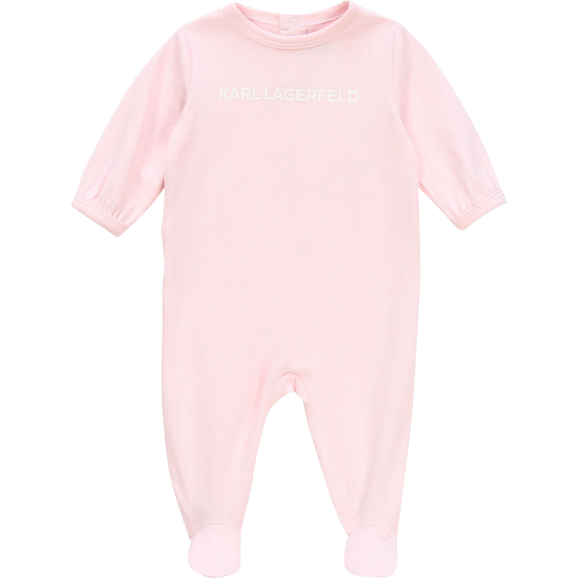 Pyjama intégral avec logo KARL LAGERFELD KIDS BEBE COUCHE UNISEXE Rose