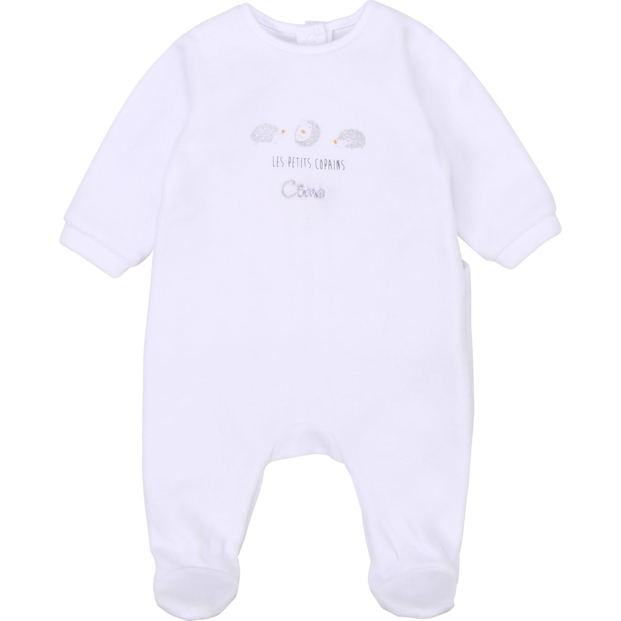 Pyjama velours avec imprimé CARREMENT BEAU BEBE COUCHE GARCON Blanc