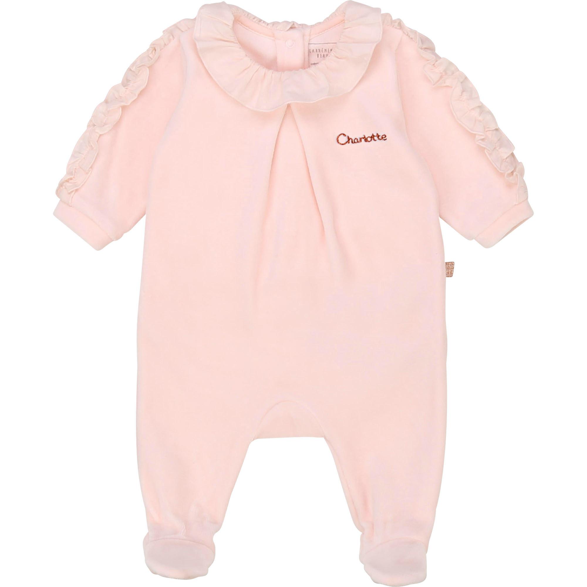 Pyjama velours en coton bio CARREMENT BEAU BEBE COUCHE FILLE Rose