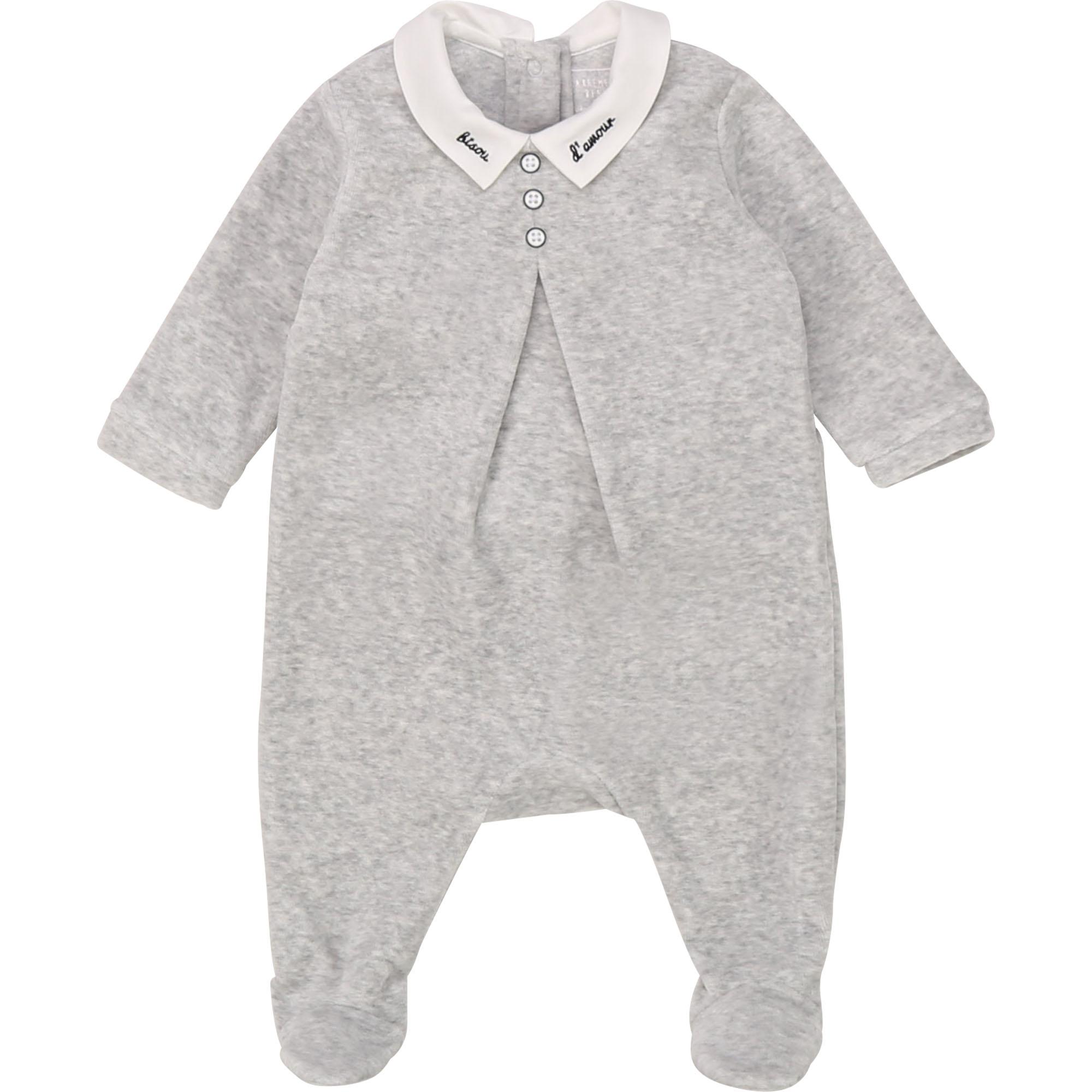 Pyjama velours en coton bio CARREMENT BEAU BEBE COUCHE GARCON Gris