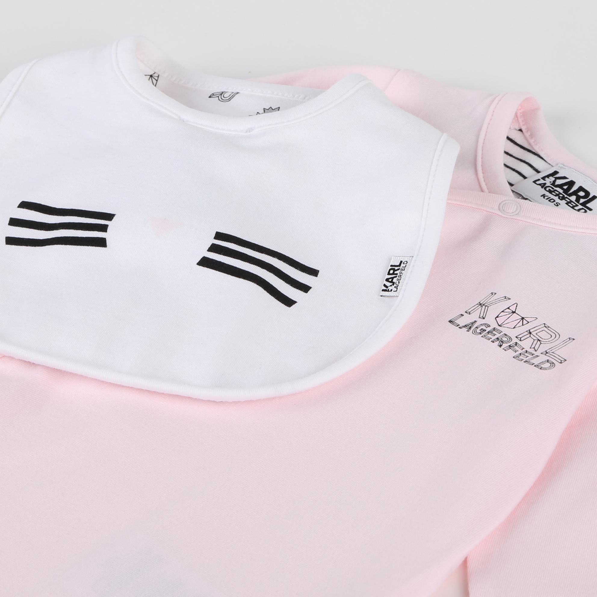 Pyjama et bavoir coton KARL LAGERFELD KIDS BEBE COUCHE UNISEXE Rose