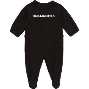 Pyjama intégral avec logo KARL LAGERFELD KIDS BEBE COUCHE UNISEXE Noir