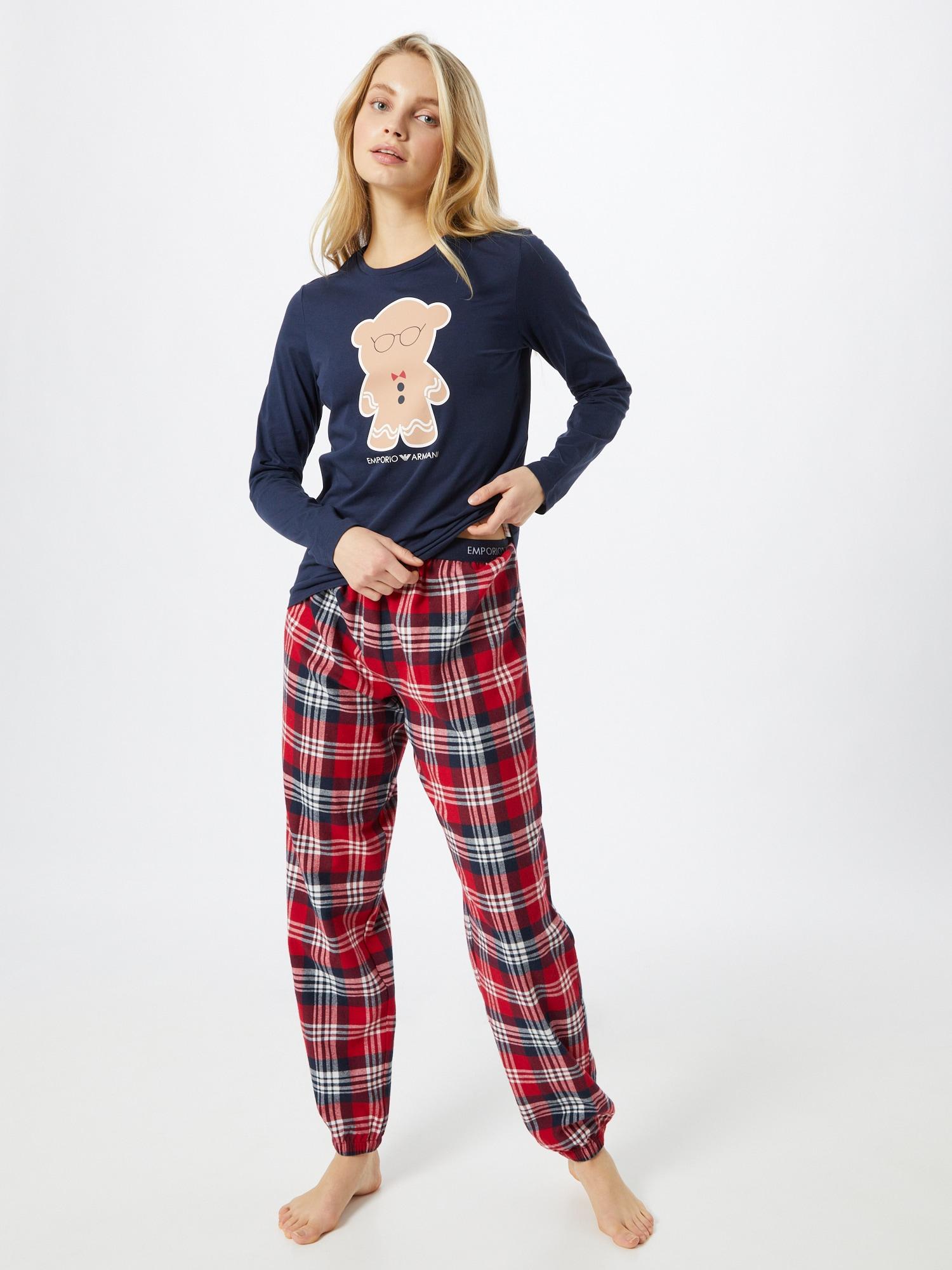 Emporio Armani Pyjama 'HOLIDAYS'  bleu marine / rouge feu / camel / blancAbout You FR