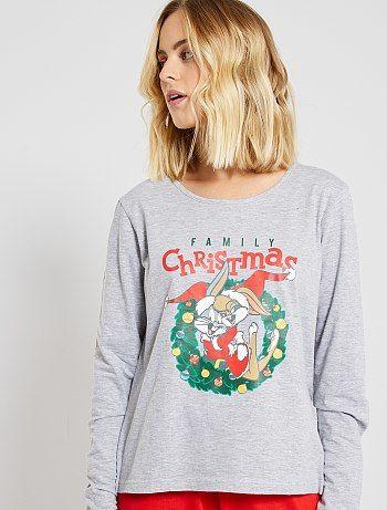 Pyjama 'Bugs Bunny' gris/rouge Looney Tunes