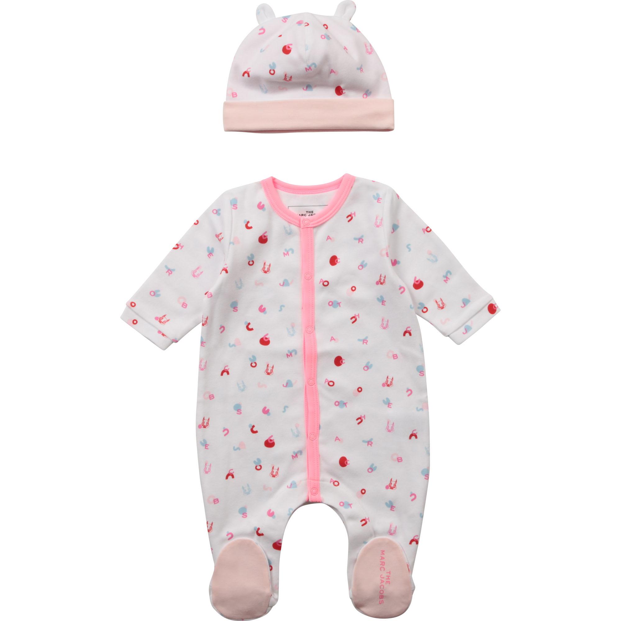Ensemble pyjama + bonnet THE MARC JACOBS BEBE COUCHE UNISEXE Rose