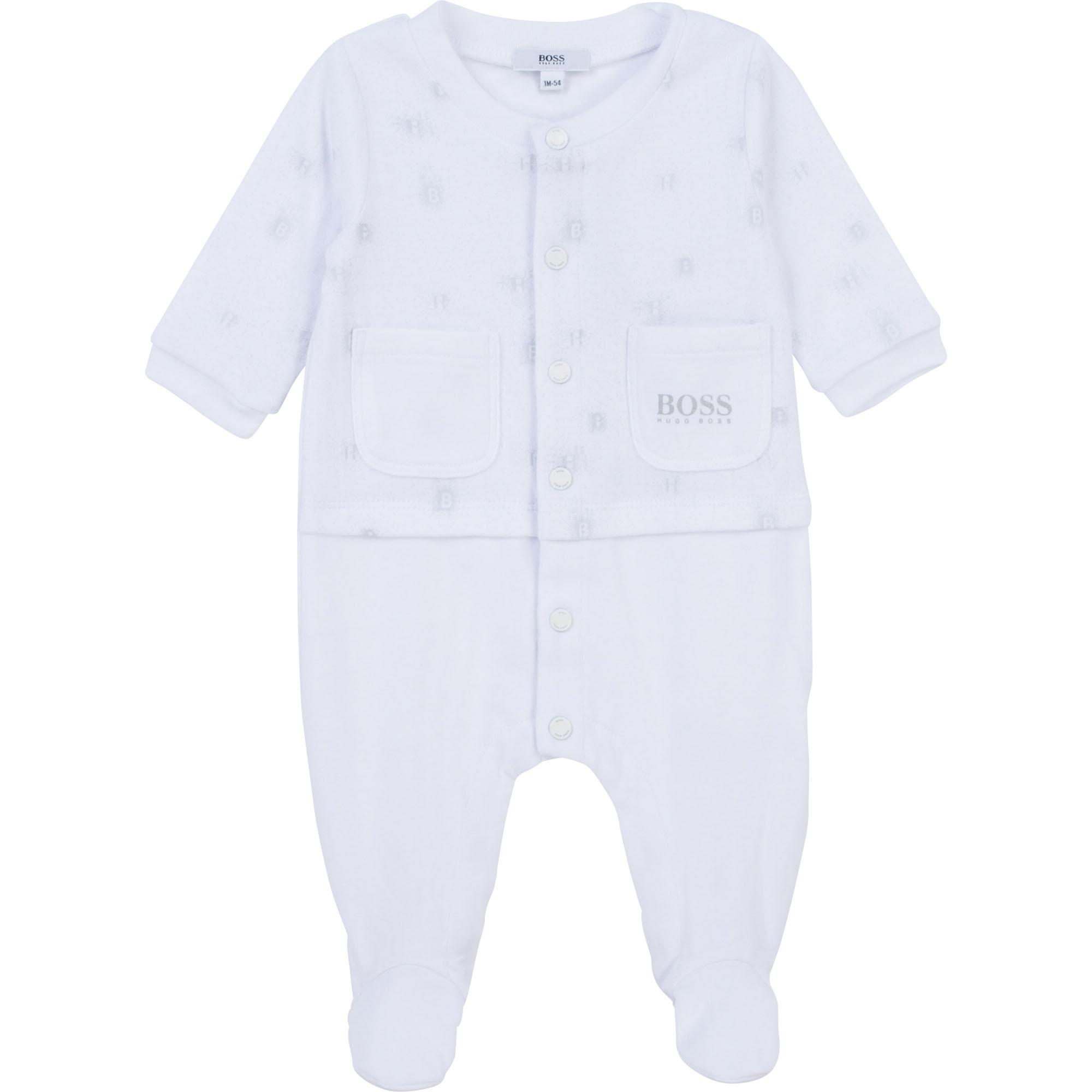 Pyjama en coton avec imprimé BOSS BEBE COUCHE UNISEXE Blanc