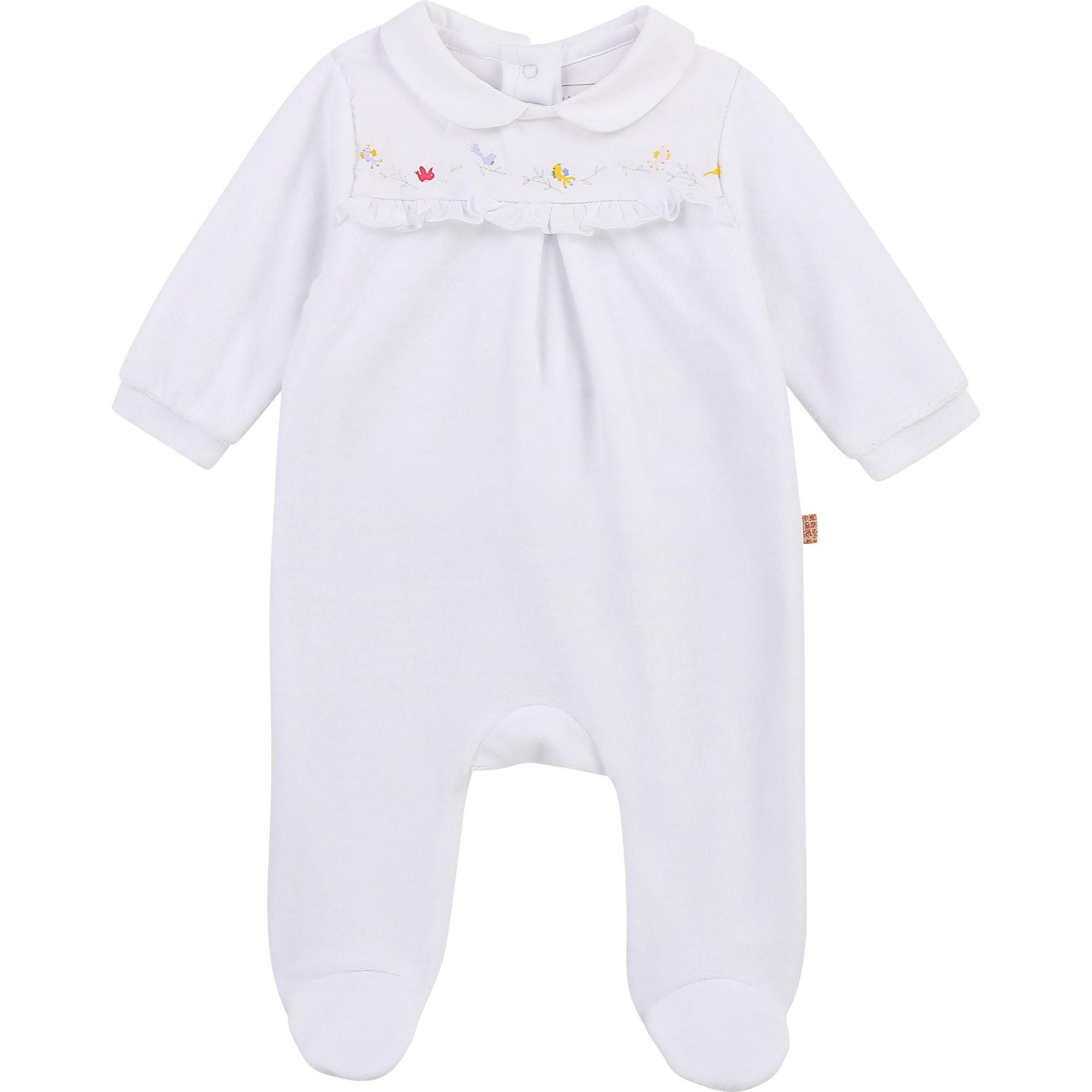Pyjama en coton biologique avec boîte CARREMENT BEAU BEBE COUCHE FILLE Blanc