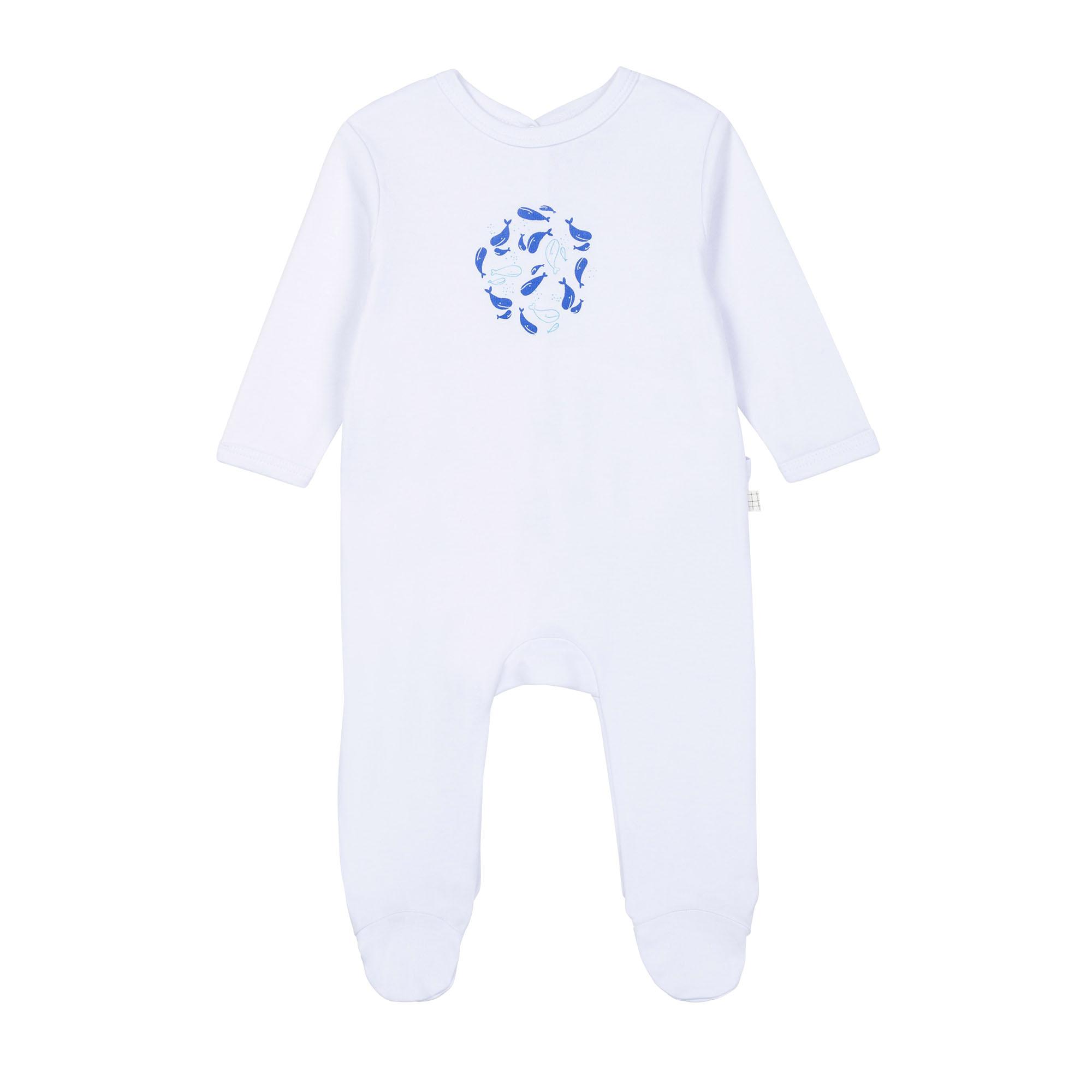Pyjama en coton biologique avec boîte CARREMENT BEAU BEBE COUCHE GARCON Blanc