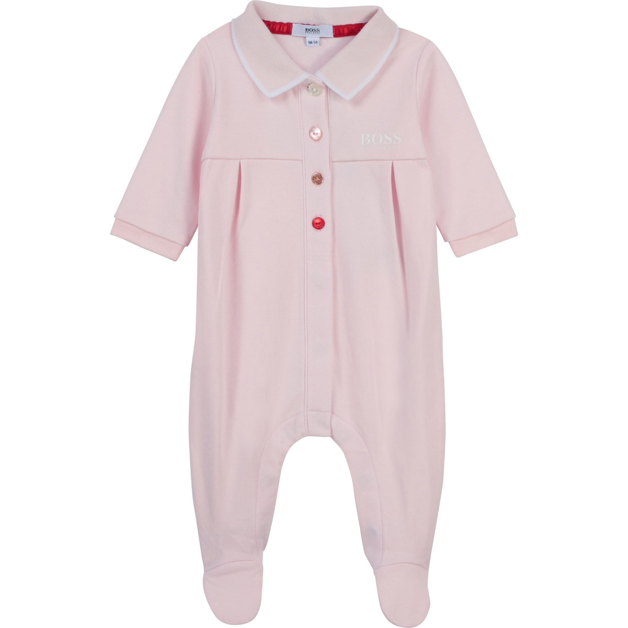 Pyjama en interlock coton BOSS BEBE COUCHE FILLE Rose