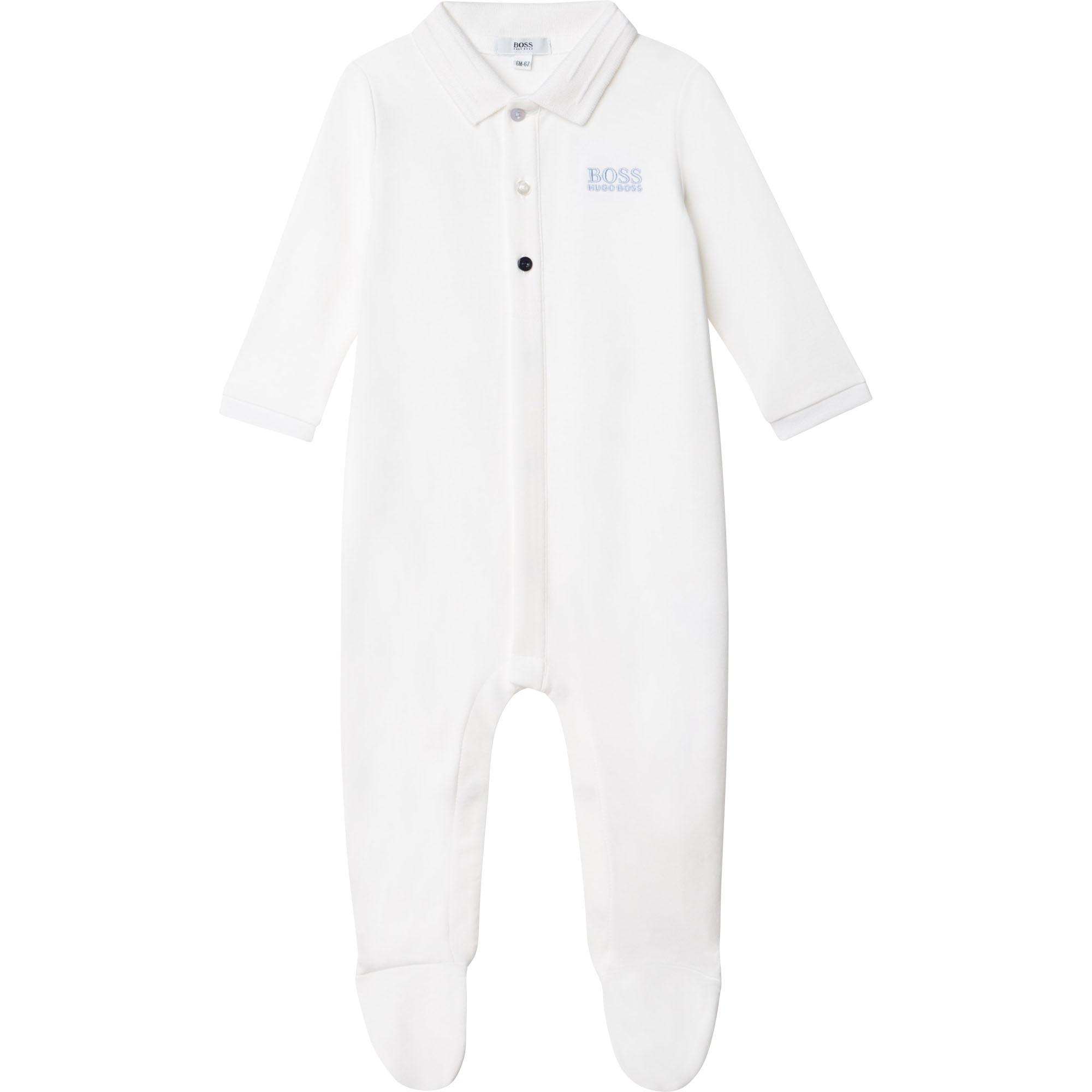 Pyjama en interlock coton BOSS BEBE COUCHE GARCON Blanc