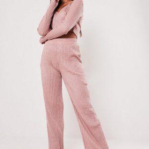 Rose pale Pantalon de pyjama vieux rose côtelé mix and match